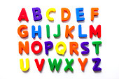 Alphabet in vintage colorful refrigerator magnets