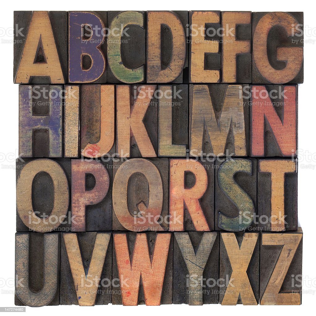 alphabet in vintage wooden letterpress type stock photo