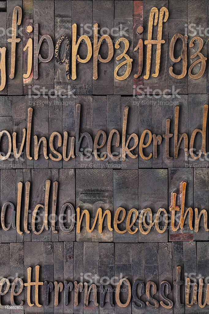 alphabet in wood type royalty-free stock photo