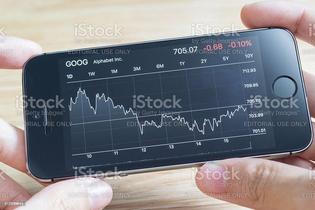 Alphabet Inc. Stock Chart on iPhone5s stock photo