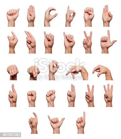 istock Alphabet language of the deaf 857802062
