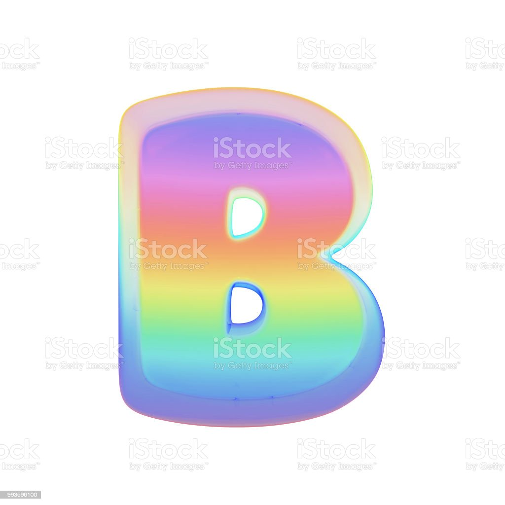 Alphabet Letter B Uppercase Rainbow Font Made Of Bright Soap Bubble 3d  Render Isolated On White Background Stock Photo - Download Image Now