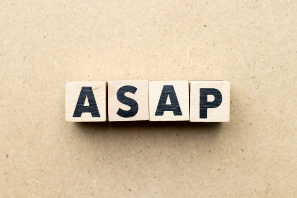 Alphabet letter block in word ASAP (Abbreviation of as soon as possible) on wood background Alphabet letter block in word ASAP (Abbreviation of as soon as possible) on wood background ASAP stock pictures, royalty-free photos & images