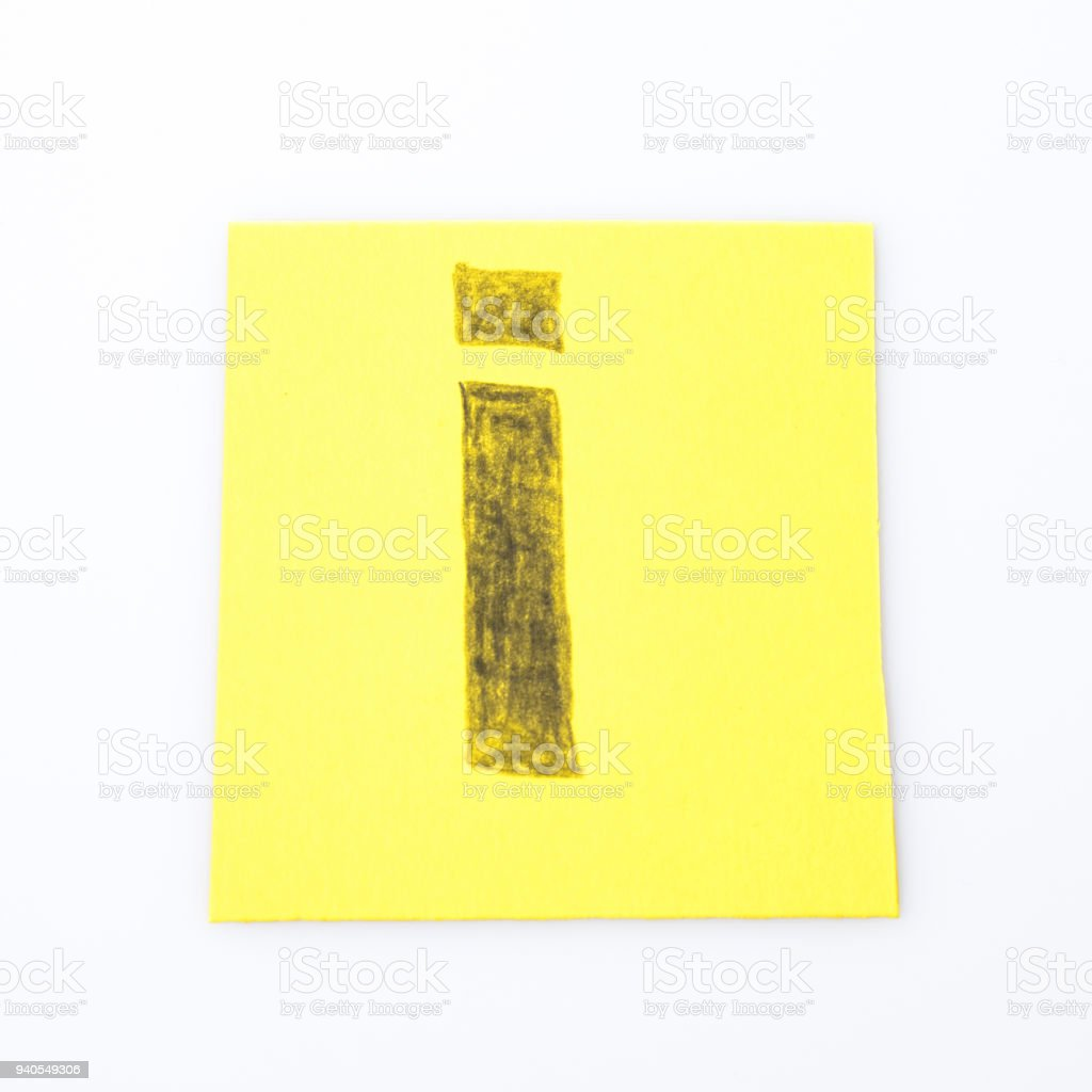 I alphabet letter handwrite on a yellow paper composition stock photo