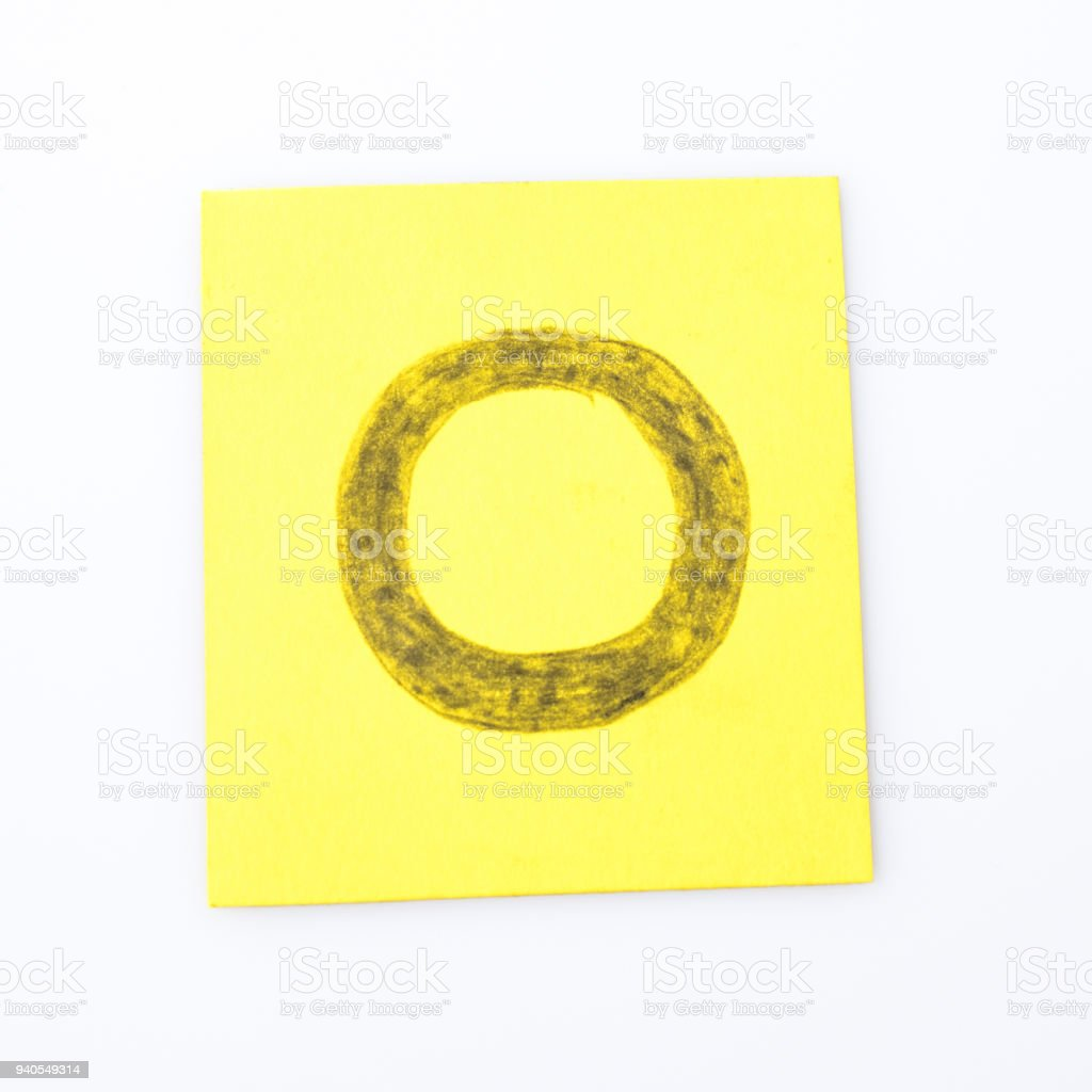 O alphabet letter handwrite on a yellow paper composition stock photo