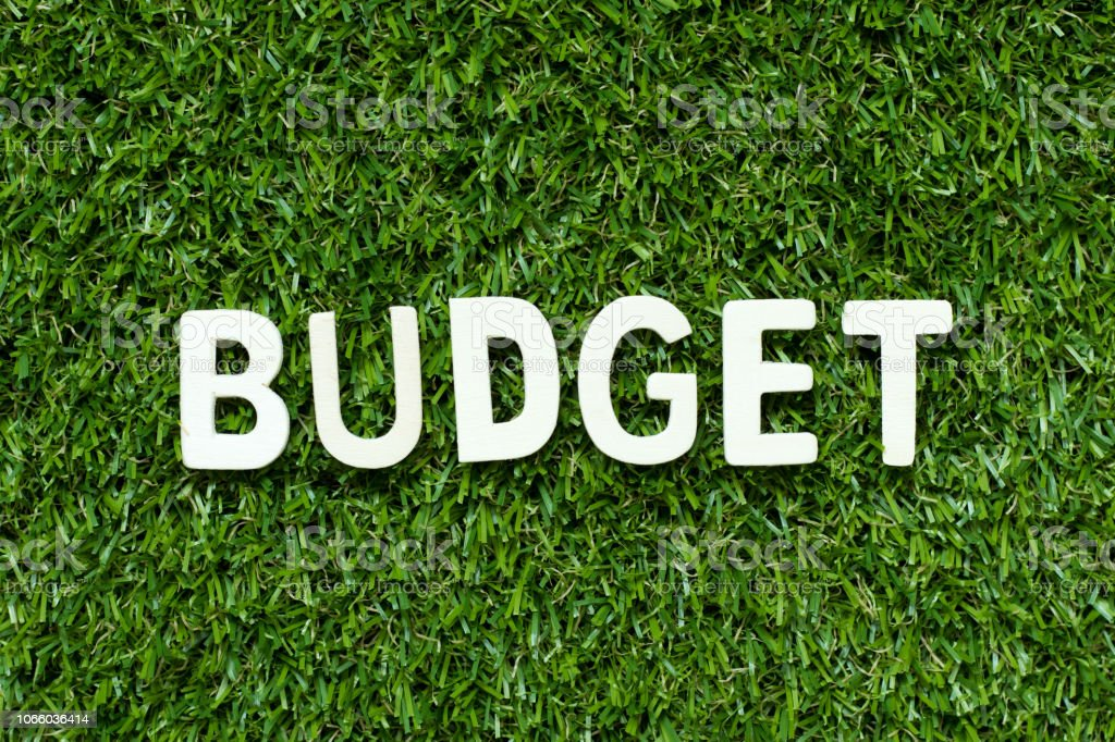 Alphabet letter in word budget on artificial green grass background stock photo