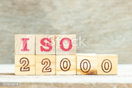 Alphabet letter in word iso 22000 on wood background