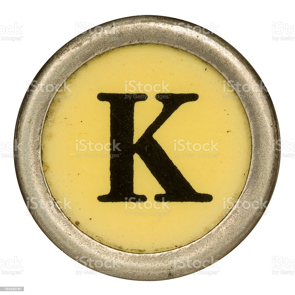 Alphabet - Letter K from old Manual Typewriter. stock photo