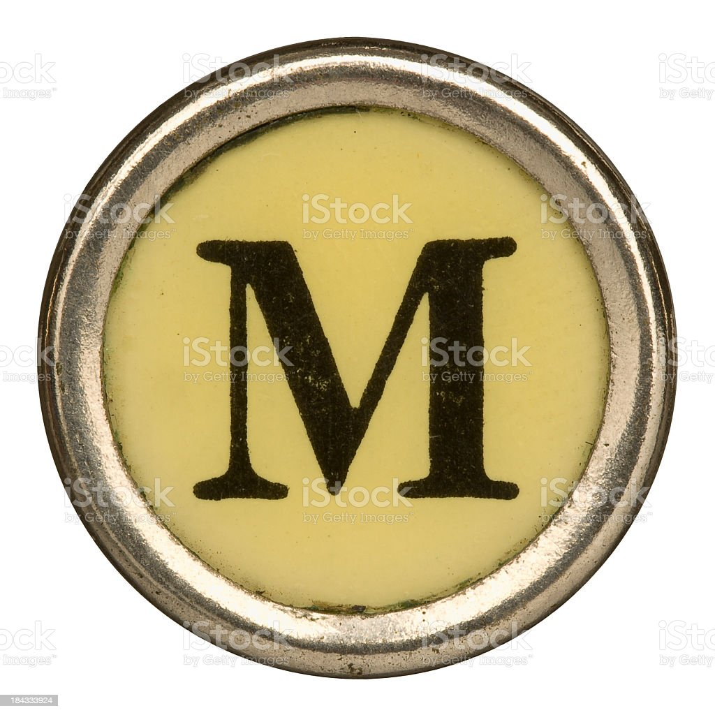 Alphabet - Letter M from old Manual Typewriter. stock photo