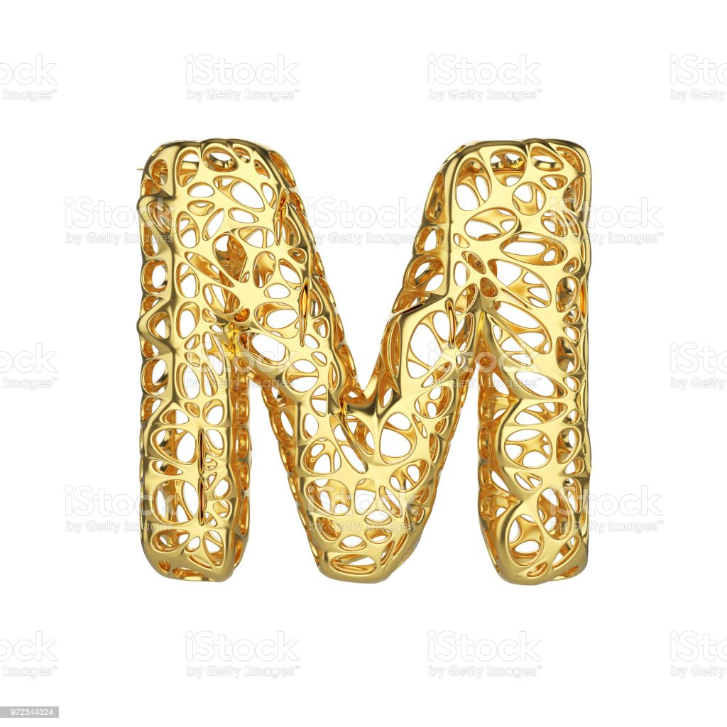 Alphabet letter M uppercase. Gold font made of yellow cellular framework. 3D render isolated on white background. stock photo