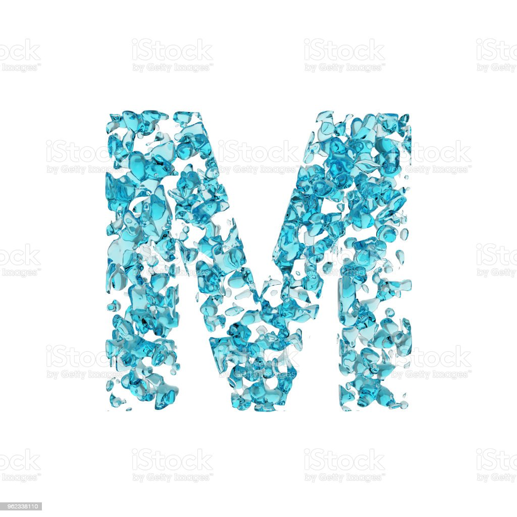 alphabet letter m uppercase liquid font made of blue water drops 3d render isolated