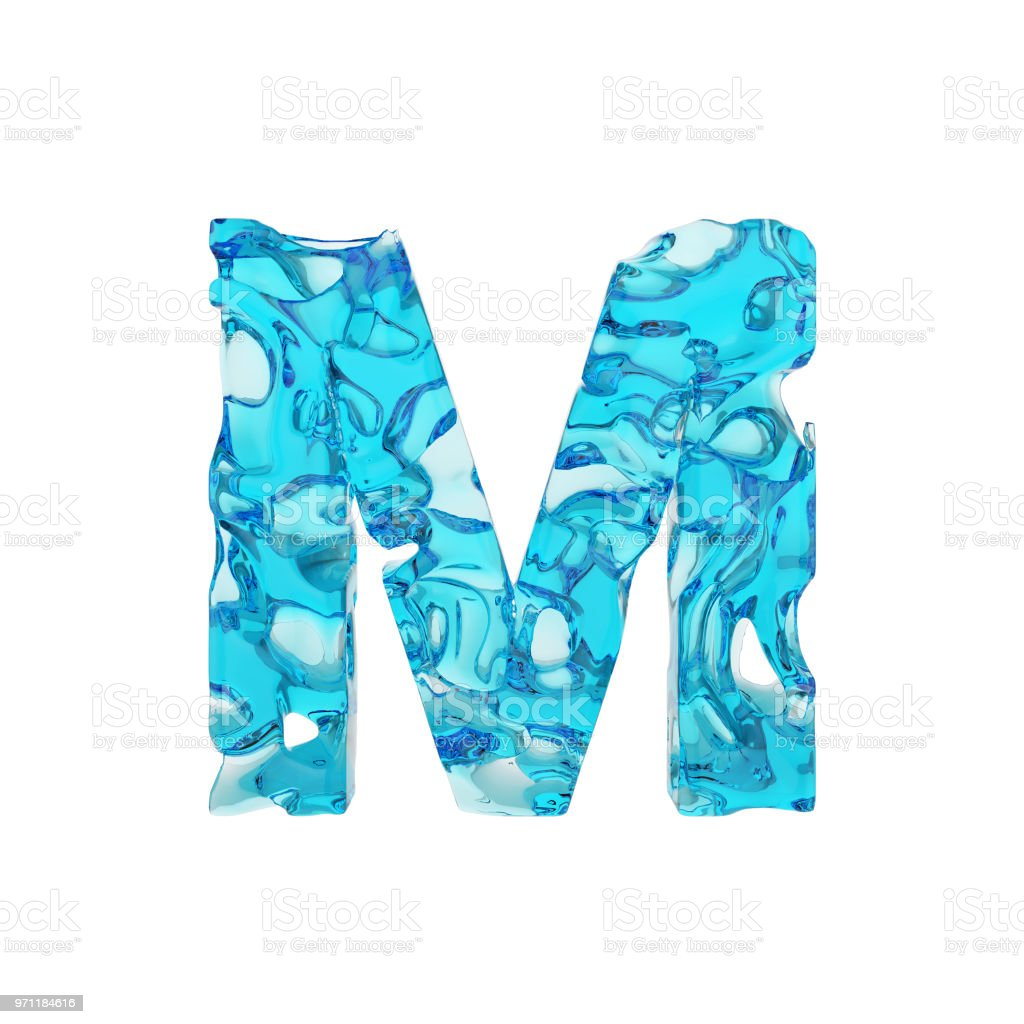 alphabet letter m uppercase liquid font made of fresh blue water 3d render isolated