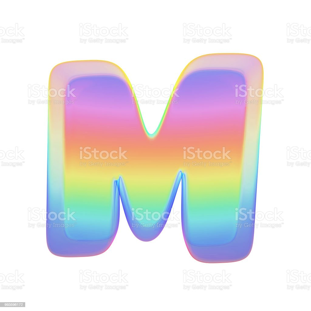 alphabet letter m uppercase rainbow font made of bright soap bubble 3d render isolated