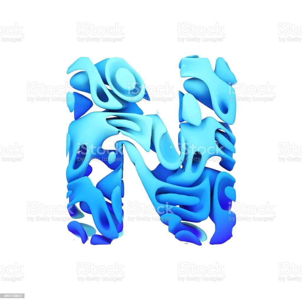 Alphabet bokstaven N versaler. Blått teckensnitt gjord av bläck plaska i vatten. 3D göra isolerade på vit bakgrund. - Royaltyfri Abstrakt Bildbanksbilder