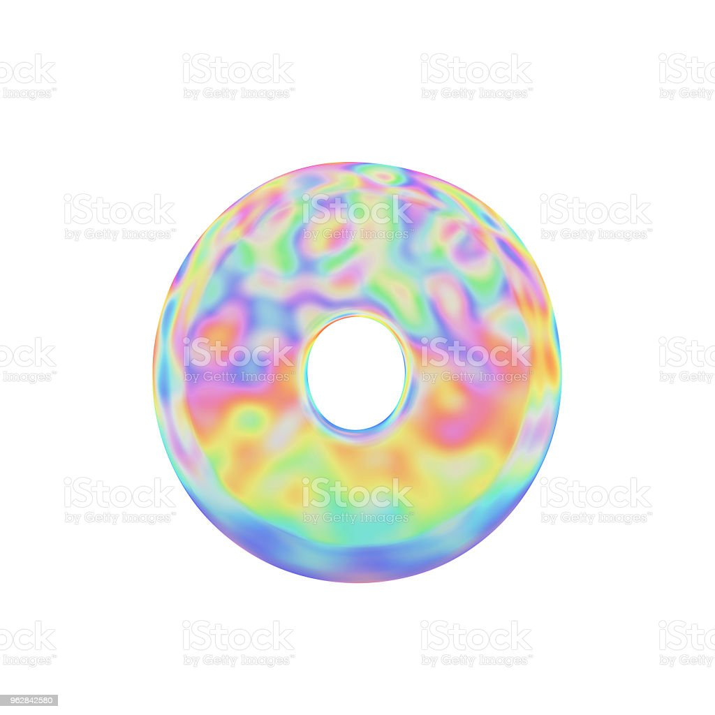 Alphabet Letter O Uppercase Funny Font Made Of Colorful Soap Bubble