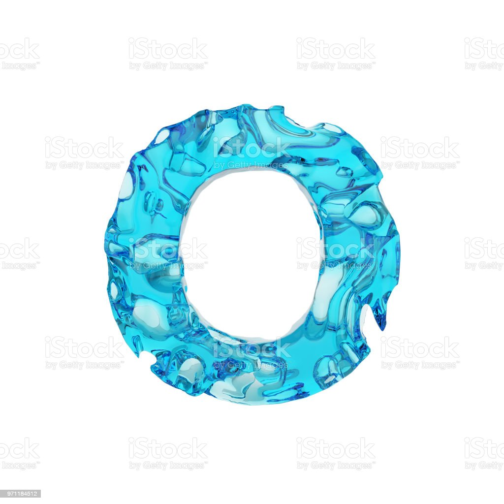 Alphabet Letter O Uppercase Liquid Font Made Of Fresh Blue Water 3d