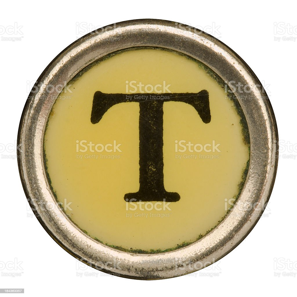 Alphabet - Letter T from old Manual Typewriter. royalty-free stock photo