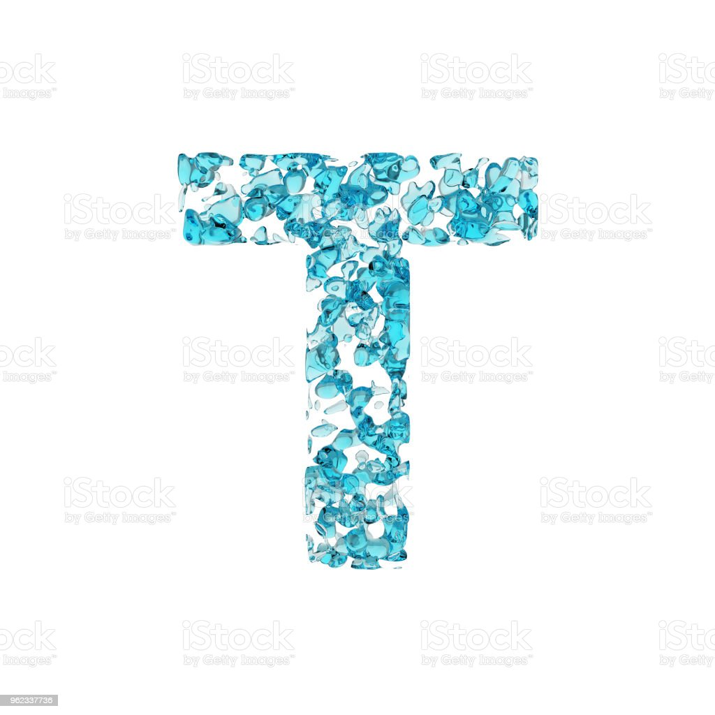 alphabet letter t uppercase liquid font made of blue water drops 3d render isolated