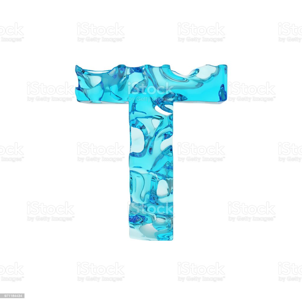 Alphabet Letter T Uppercase Liquid Font Made Of Fresh Blue Water 3d