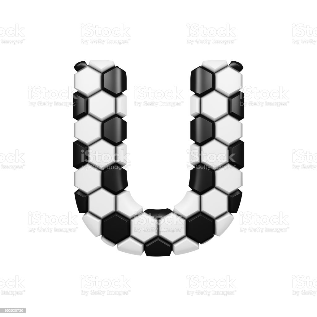 Alphabet Letter U Uppercase Soccer Font Made Of Football Texture 3d