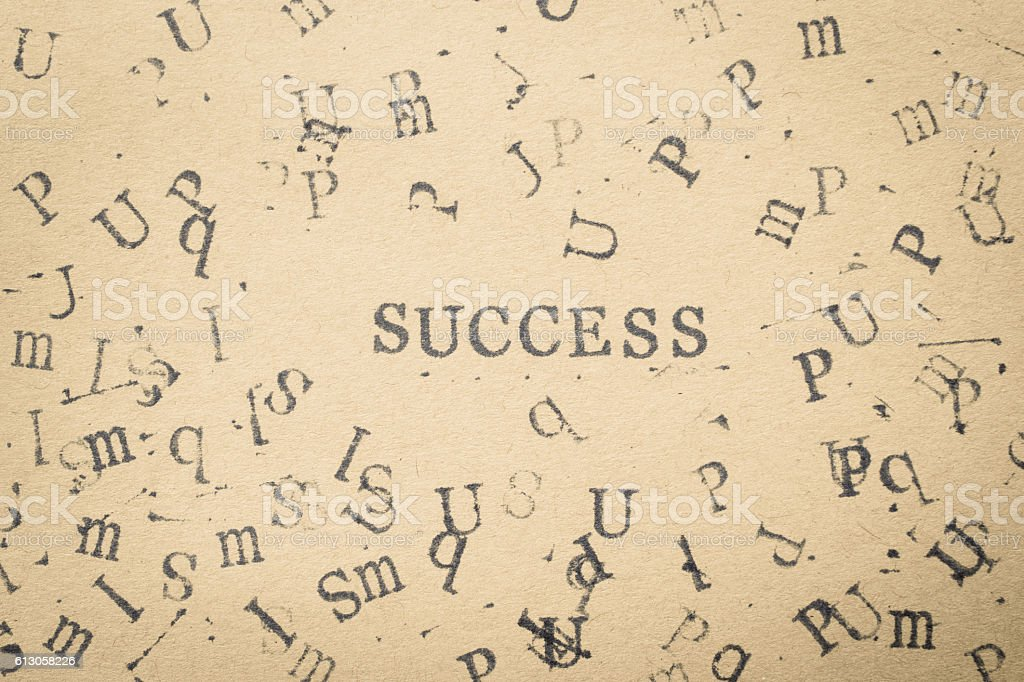 alphabet letter word success from stamp letters stock photo