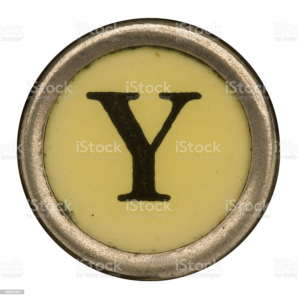 Alphabet - Letter Y from old Manual Typewriter. stock photo