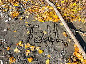 The word Fall handwritten in the sand with fall leaves.