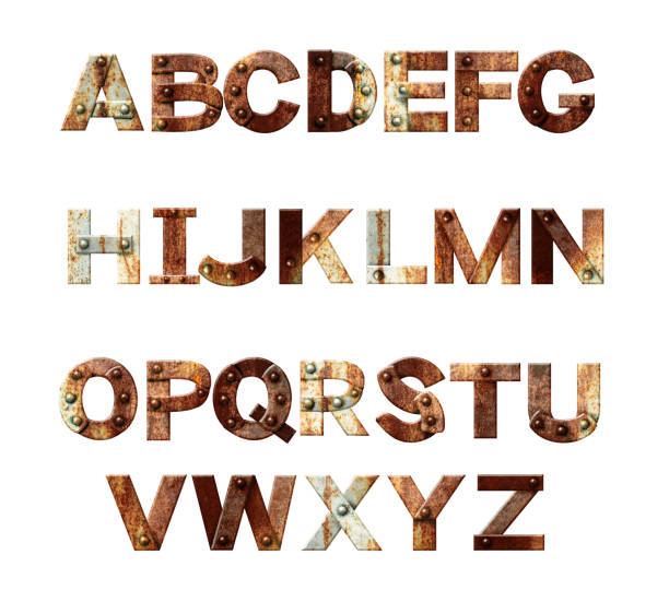Alphabet - letters from rusty metal with rivets stock photo