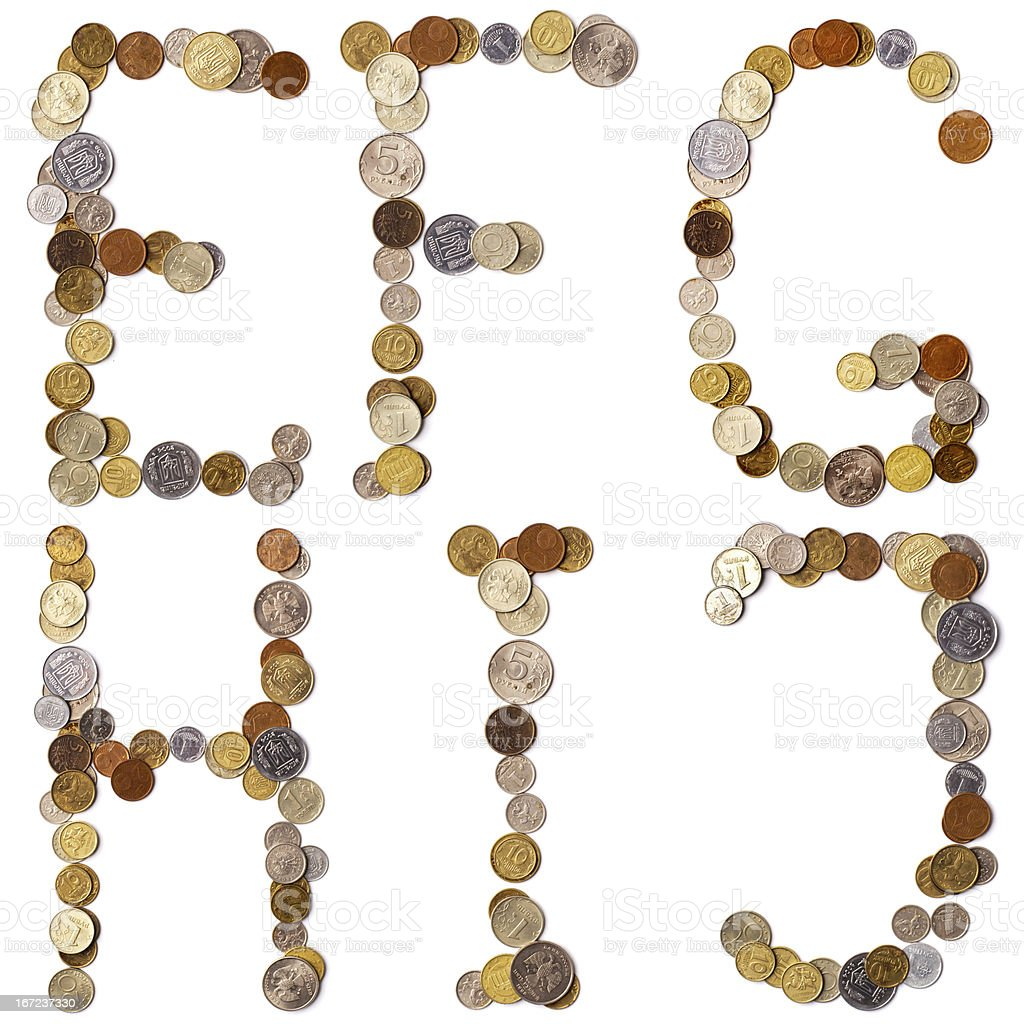 E-F-G-H-I-J alphabet letters from the coins royalty-free stock photo