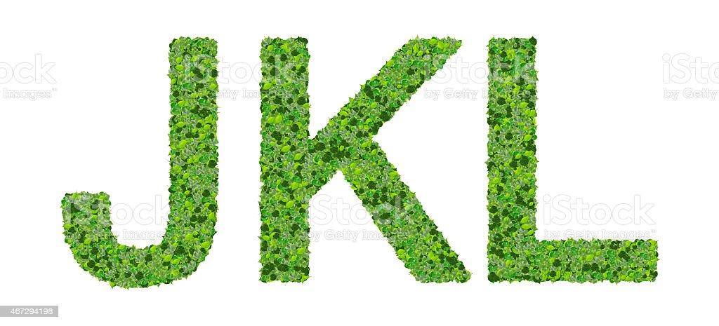 J K L Alfabeto Letras Fabricadas De Hojas Verdes - Fotografía de ...