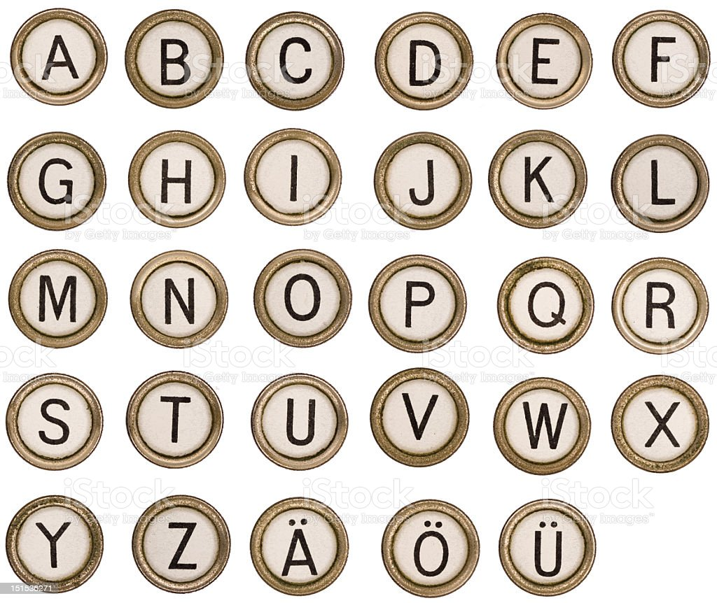 Alphabet letters of an old typewriter stock photo