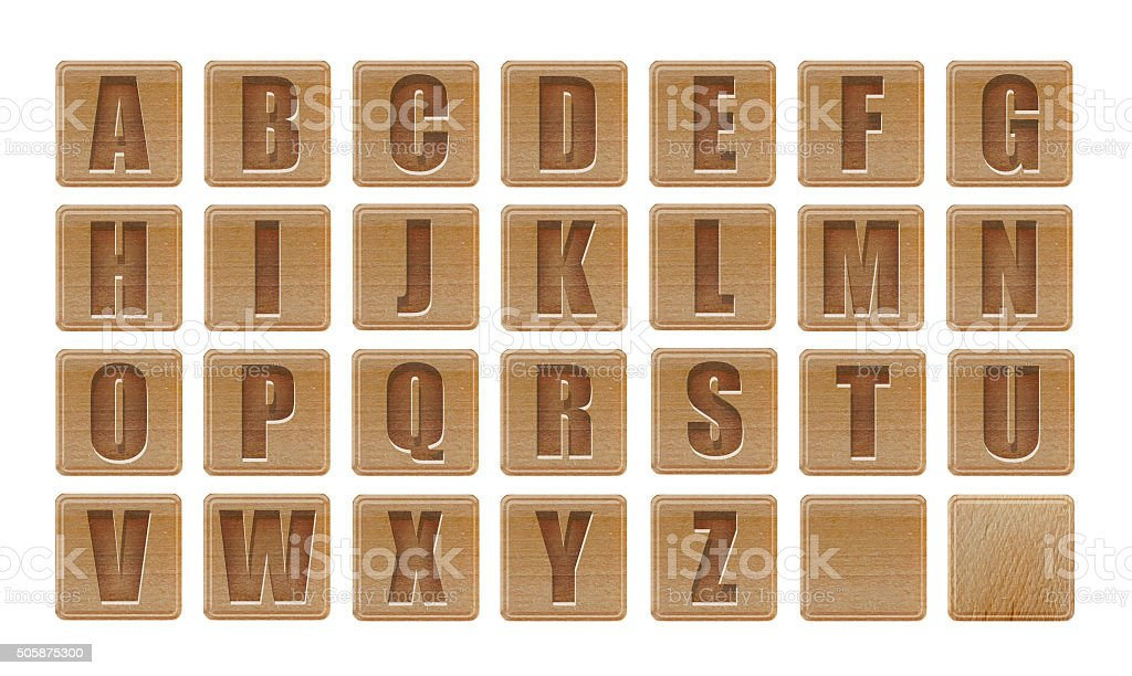 Alphabet letters on wooden isolated on white stock photo