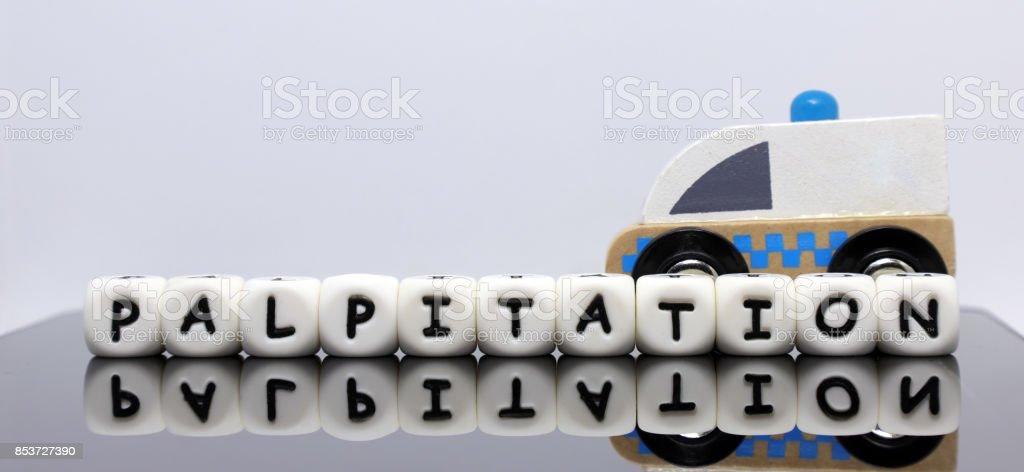 alphabet lettters spelling palpitation stock photo