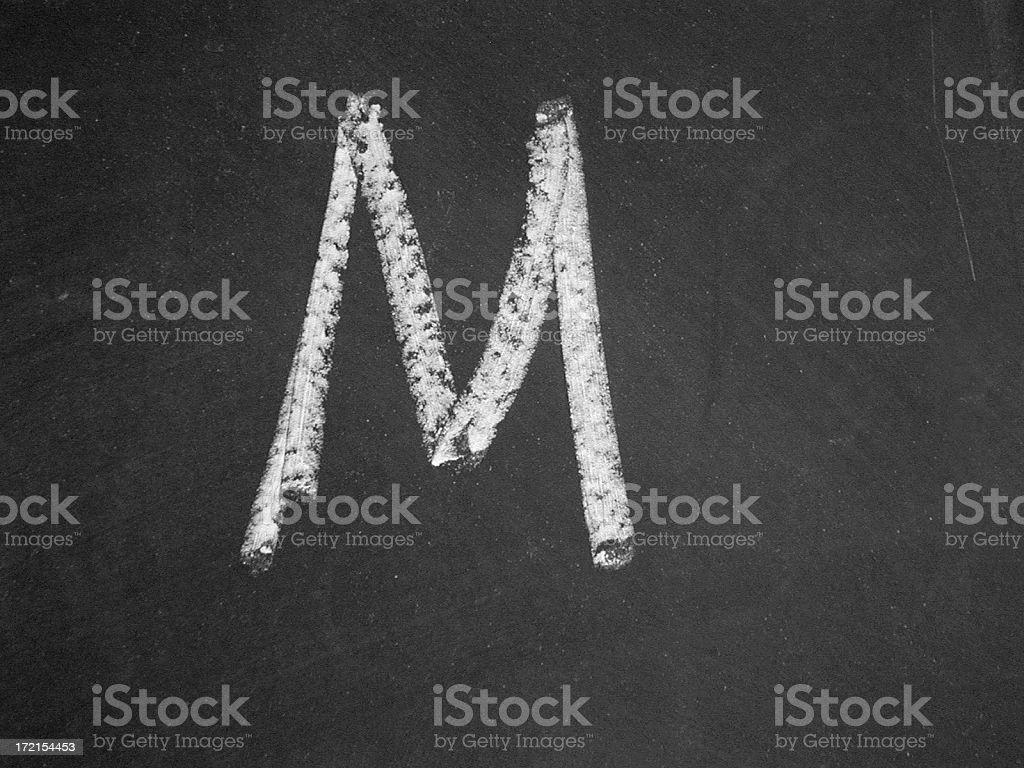 alphabet - M - Chalk royalty-free stock photo