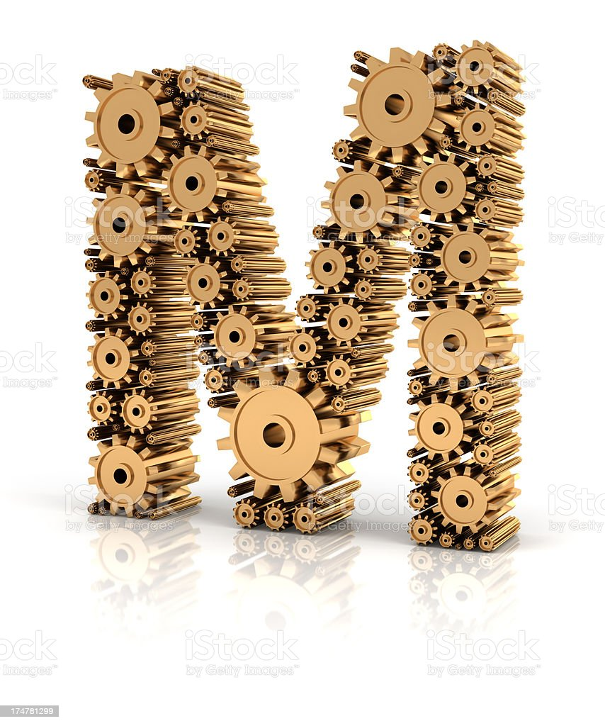 Alphabet M formed by gears stock photo