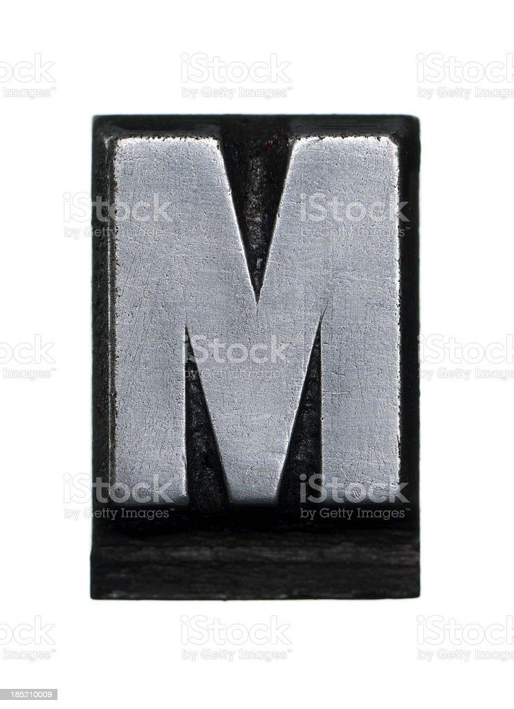 Alphabet M - Letterpress letter royalty-free stock photo