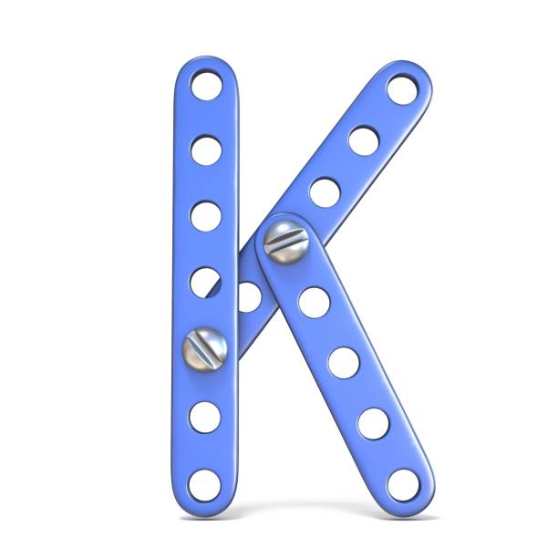 Alphabet made of blue metal constructor toy Letter K 3D Alphabet made of blue metal constructor toy Letter K 3D render illustration isolated on white background k icon stock pictures, royalty-free photos & images