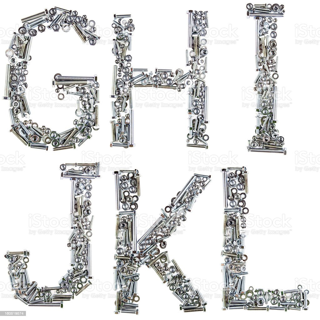 alphabet made of bolts, screws, nuts on white background royalty-free stock photo