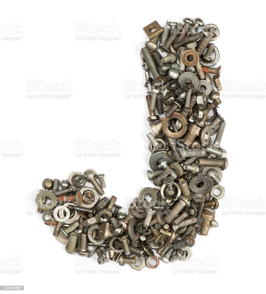 alphabet made of bolts - The letter j royalty-free stock photo