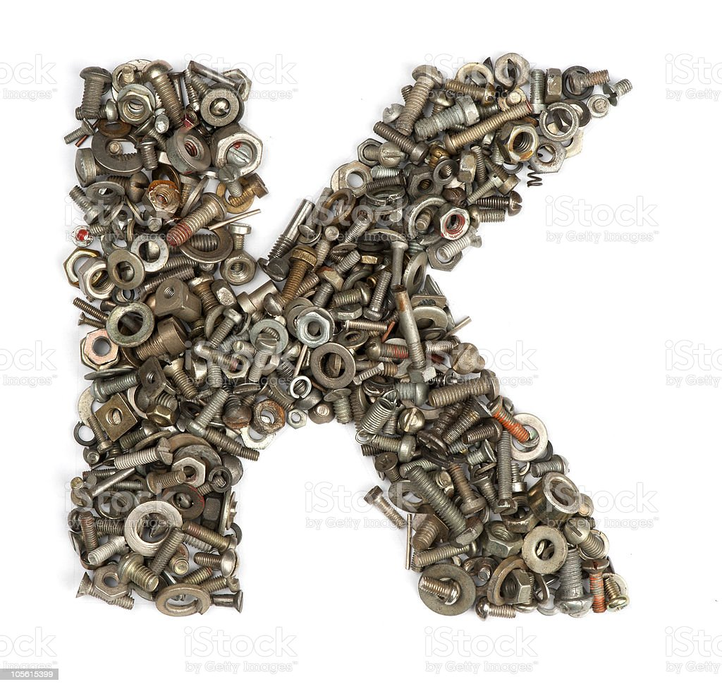alphabet made of bolts - The letter k royalty-free stock photo