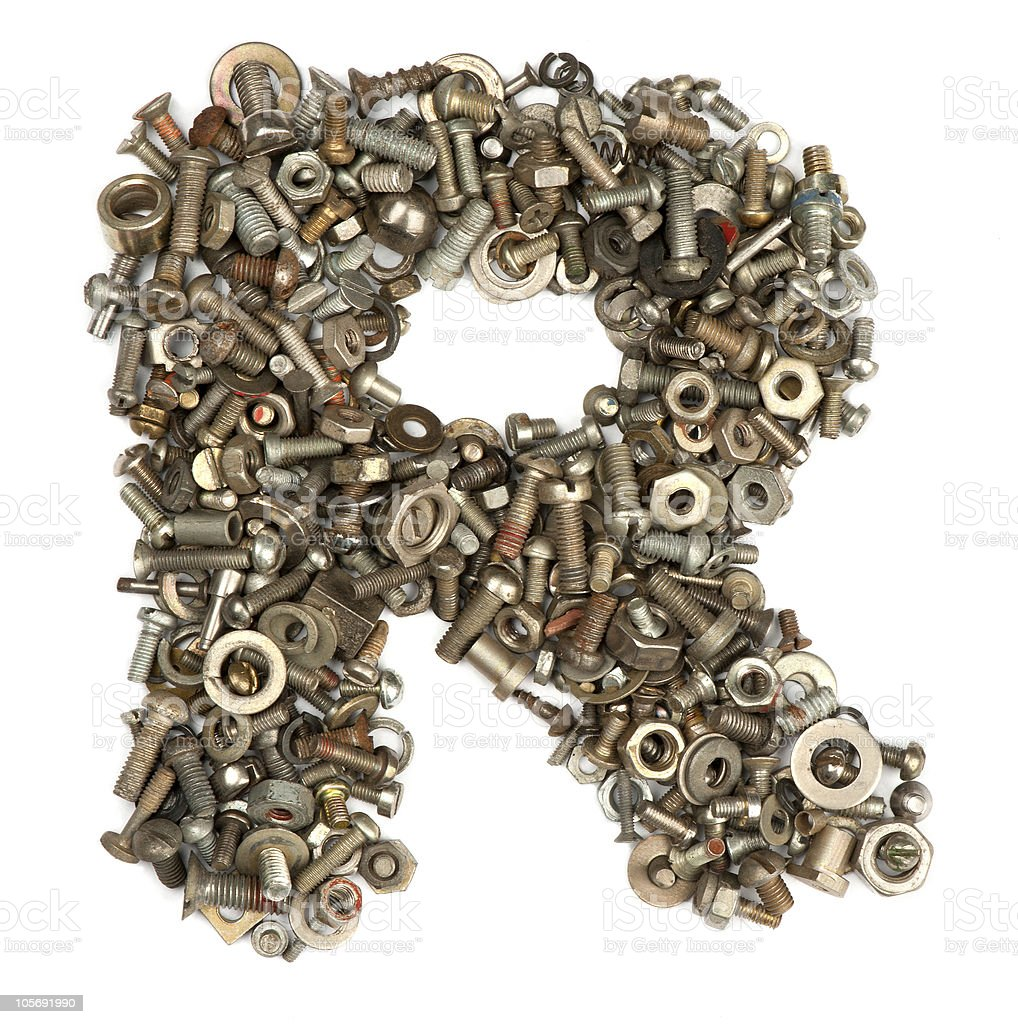 Letter Made Out Of Objects.Alphabet Made Of Bolts The Letter R Stock Photo Download