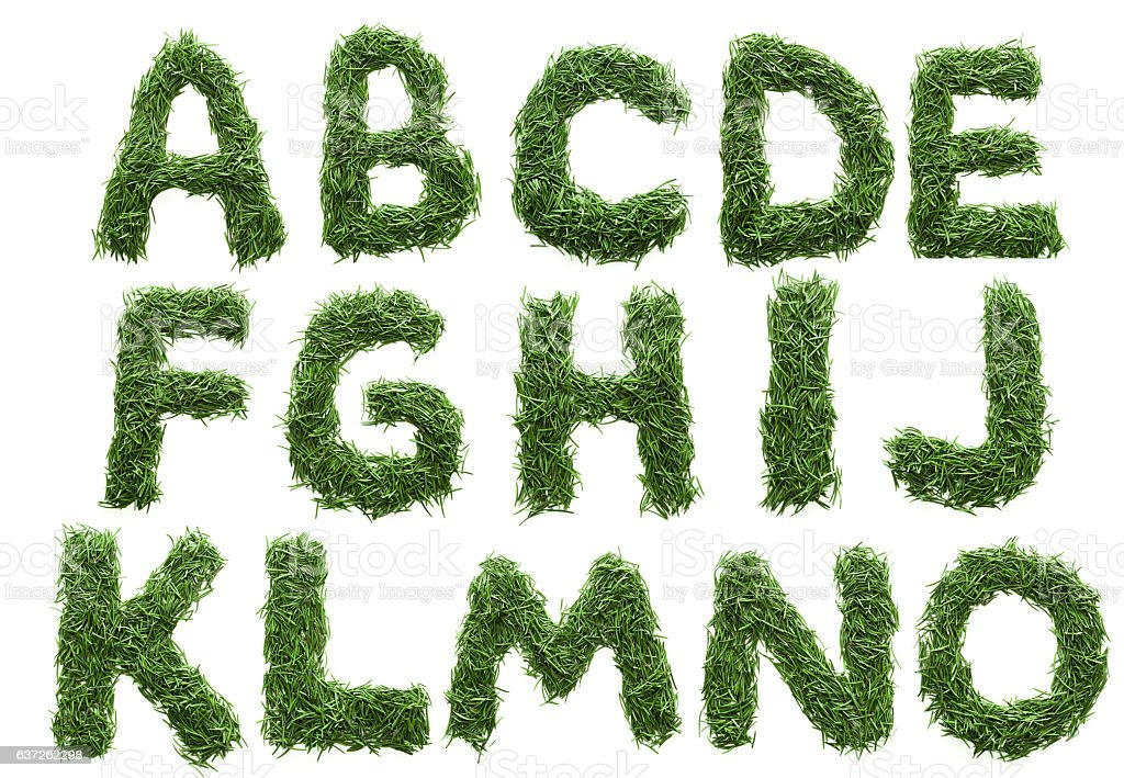 alphabet made of green grass isolated on white stock photo