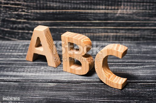 istock Alphabet made of wood on the background of a board, ebony. Concept of education, English. English letters, retro. 940267810