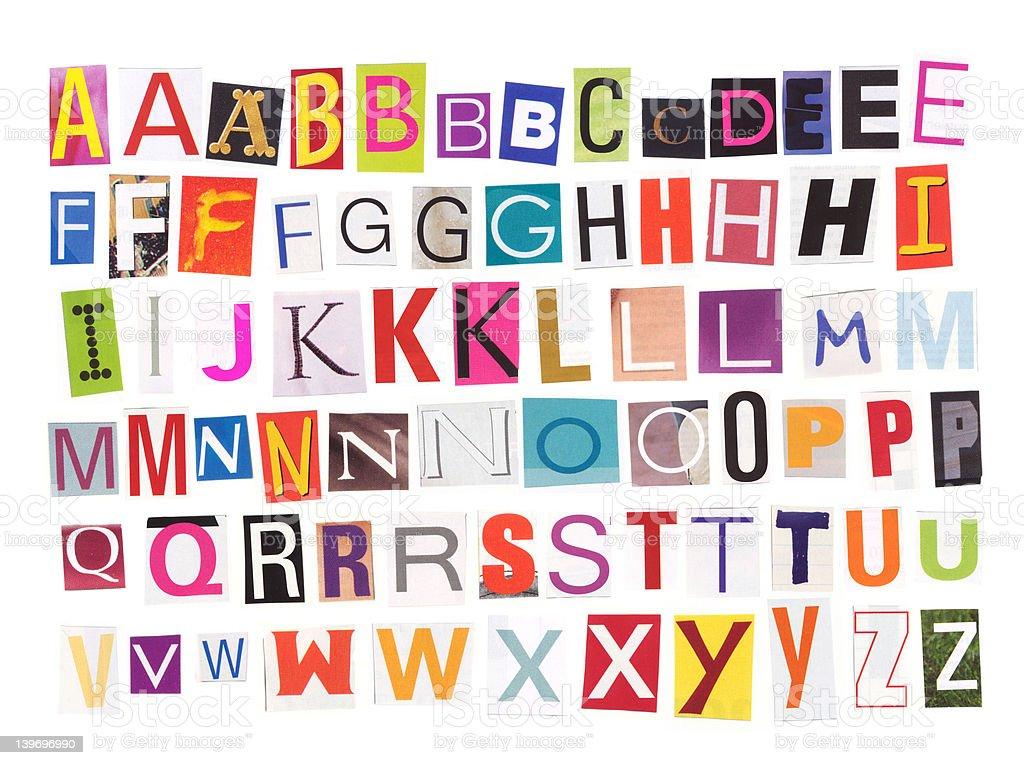 Alphabet - Magazine cutouts stock photo