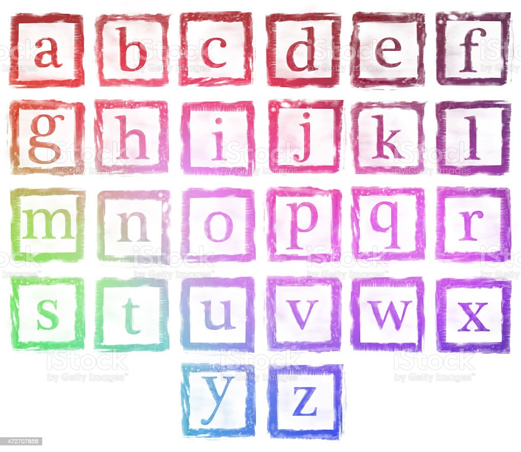 Alphabet Metal Stamp Small Letters Color stock photo | iStock