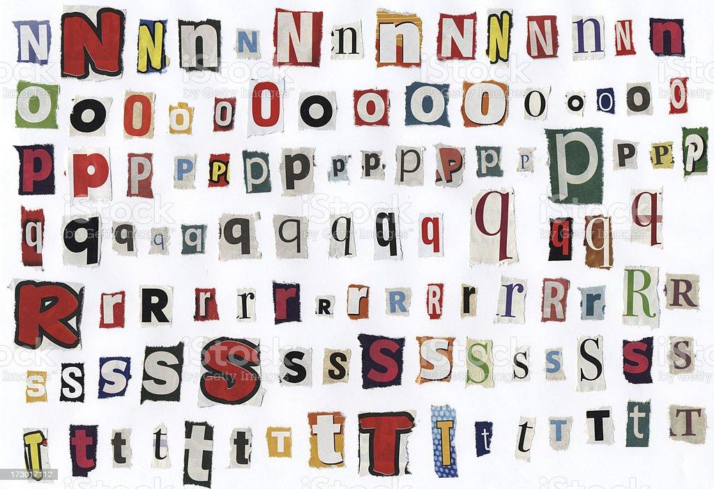 Alphabet newspaper letters - XXXL stock photo