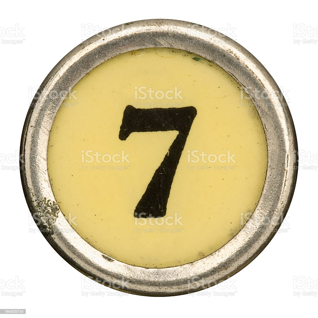 Alphabet - Number 7 from old Manual Typewriter. royalty-free stock photo