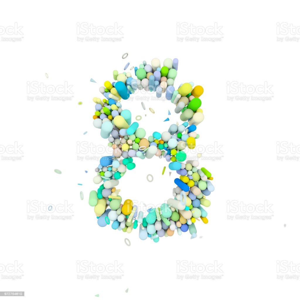 Alphabet Number 8 Funny Font Made Of Plastic Geometric