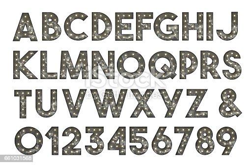 istock Alphabet of bulb signs 661031568