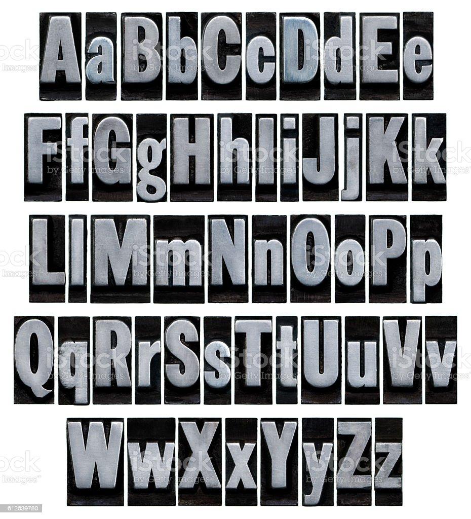 Alphabet - Old metal letterpress type stock photo